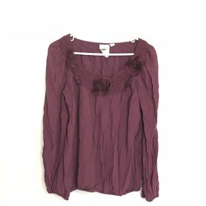 Tops - Burgundy Top with Rosette Appliqué